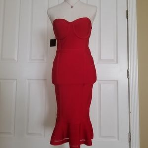NWT Bebe red bustier bandage dress